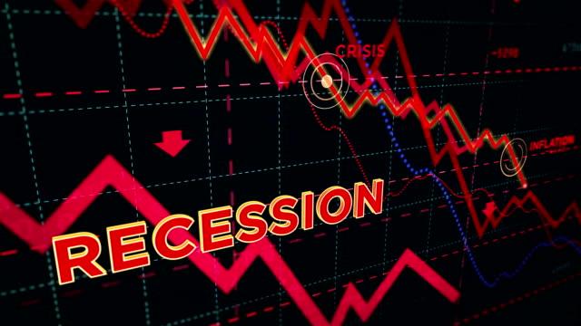 rezession aktienmärkte nach unten chart - inflation stock-videos und b-roll-filmmaterial