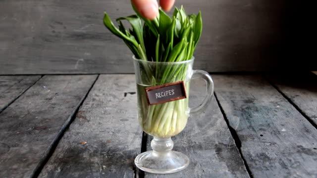 レシピのアイデア。レトロなテーブルとタグが木製ニンニク。 - ローフード点の映像素材/bロール