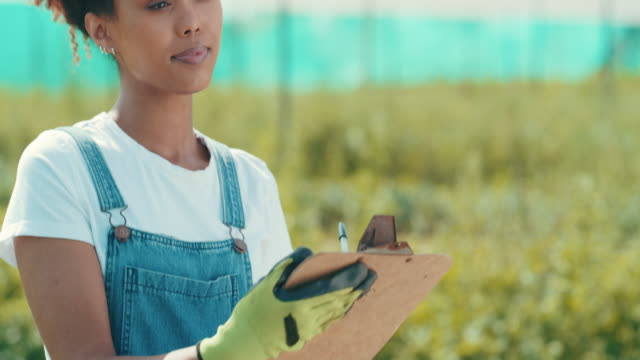 I record everything 4k video footage of an attractive young farmer standing alone in her farm and writing on a clipboard clipboard stock videos & royalty-free footage