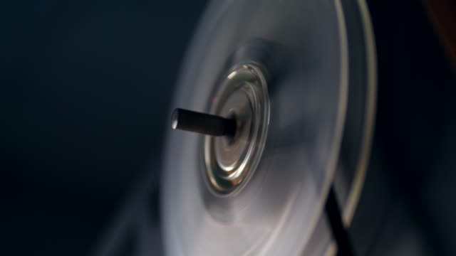 Recorder's spool in the process of rewind