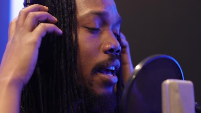 Recording in music studio