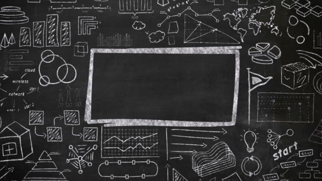 Rectangle and infographics with chalk on blackboard The video is saturated with animated drawing chalk on a black chalkboard infographic with an object in the center where you can place an inscription. blackboard visual aid stock videos & royalty-free footage