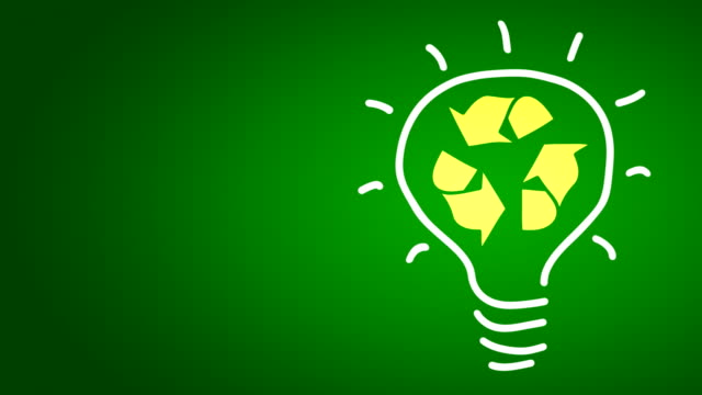 Recycle symbol in a bulb video
