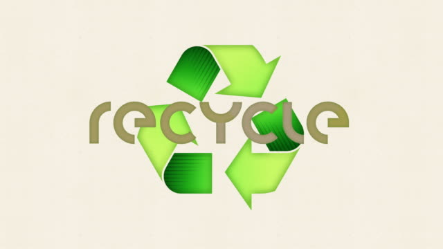 Recycle Text and Recycling Symbol Icon - Looping