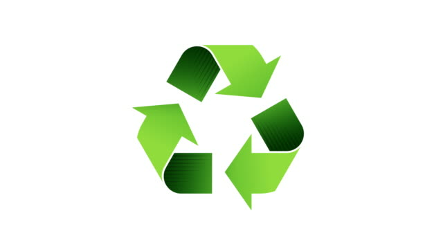 Recycling Logo - Looping Animated Symbol with Alpha Channel Recycle here. Green recycling icon on white backdrop. Also supplied with alpha channel for flexibility. Resize and lay on any background or screen. Loops seamlessly. recycling stock videos & royalty-free footage