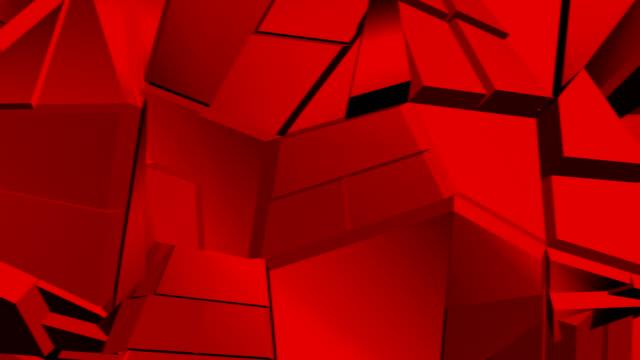 赤抽象的な多角形壊れた形には、シームレスなループが変動します。3 d アニメーション。 - 尖っている点の映像素材/bロール