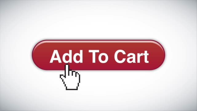 Red Add to cart Web Interface Button Clicked With Mouse Cursor 4K Stock Video