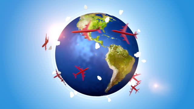 Red Airplanes Travelling Around The World video