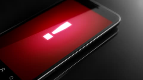 Red Alert concept on smart phone screen Smart phone 3D animation alertness stock videos & royalty-free footage