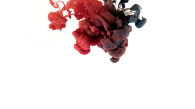 Red and black ink splash on white background video