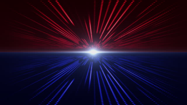 Red and Blue abstract technology digital background perspective with light