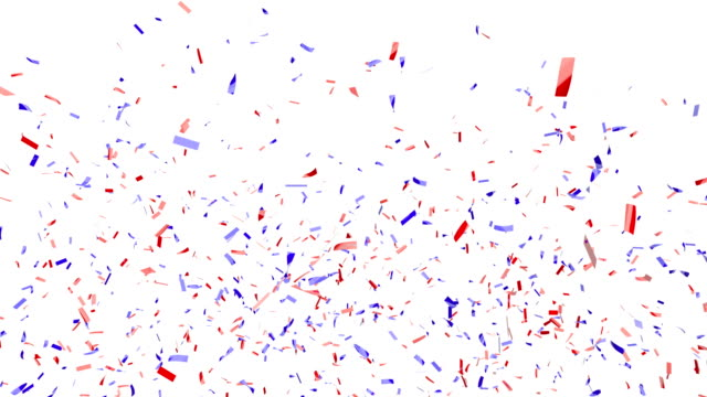 Red and blue confetti falling on a white background with alpha matte Festive red and blue confetti falling on a white background with alpha matte 2020 stock videos & royalty-free footage