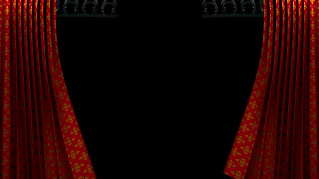 red and gold pattern curtain with spotlight opening scene - grand opening stock videos and b-roll footage