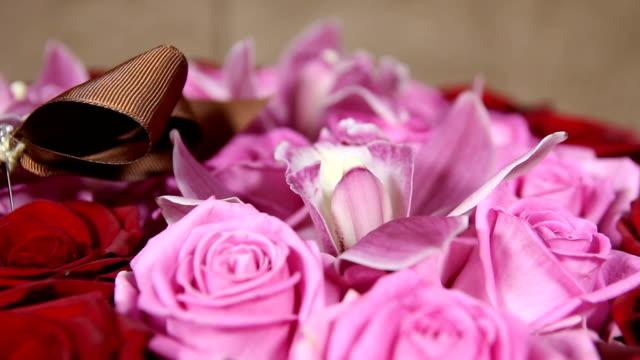 vídeos de stock, filmes e b-roll de rosas vermelhas e cor de rosa com um buquê de flores da orquídea close-up - arméria