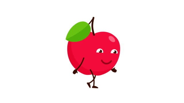 Red Apple cartoon character walking and smile.