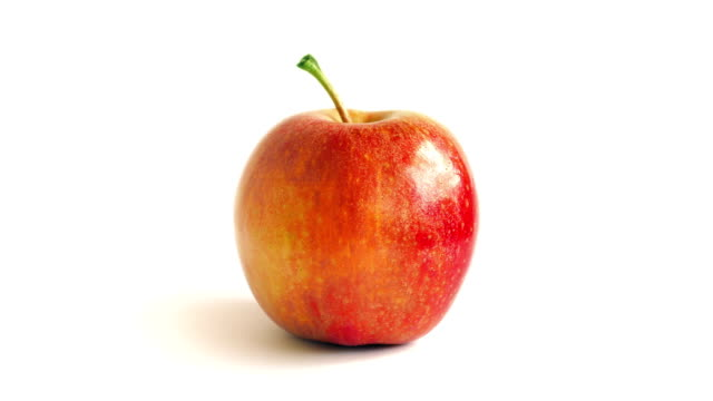 Red Apple Rotating On White Background video