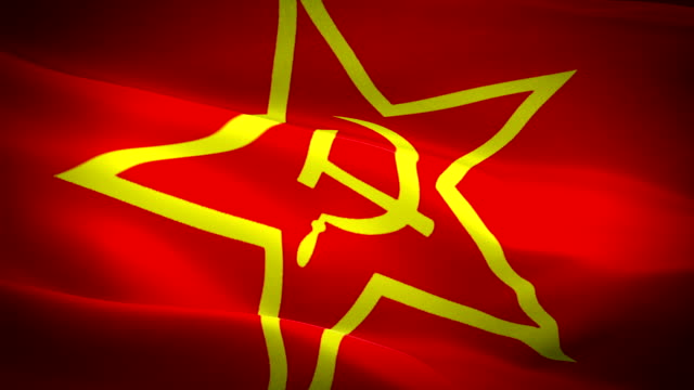 rote armee sowjetische flagge cccp video im wind winken. realistische kommunistische flagge hintergrund. sowjetunion flagge looping closeup 1080p udssr full hd 1920x1080 filmmaterial. sowjetunion kommunismus land flaggen video - kommunismus stock-videos und b-roll-filmmaterial