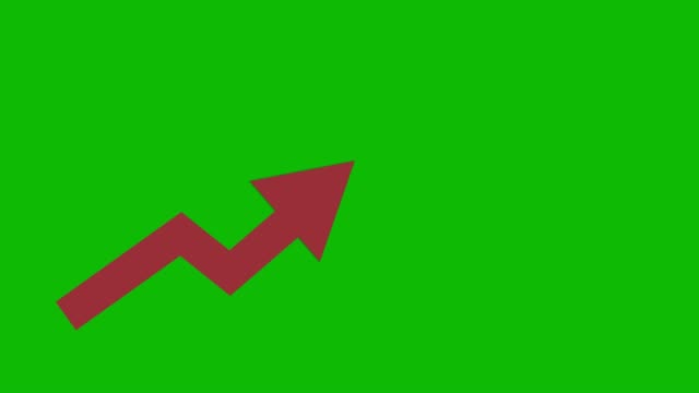 Red arrow going up animated iconon green background. Economic simple moving arow