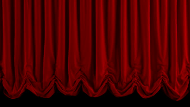 Red Austrian curtain falls/closing. With alpha channel. video