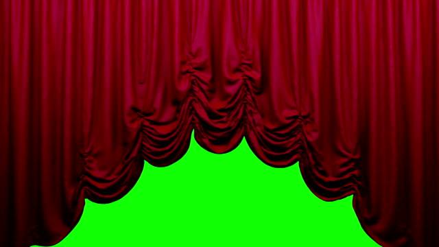 vídeos de stock, filmes e b-roll de cortina de palco teatro austríaca red ir acima e para baixo. - arte, cultura e espetáculo
