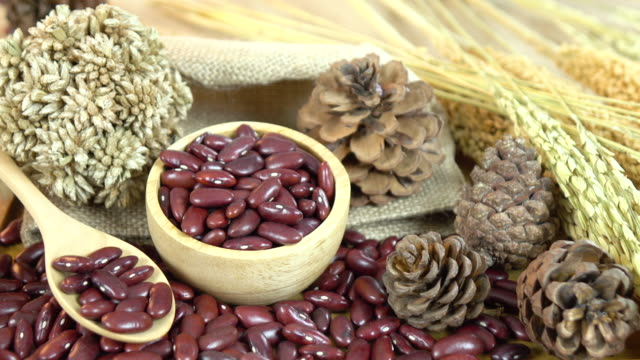Red beans in wooden bowl video