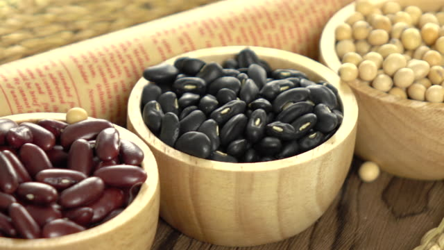Red beans, mung beans, soy beans and black beans video