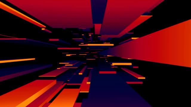 Red / Blue / Orange Blocks Tunnel Loop | Abstract Futuristic Animation video
