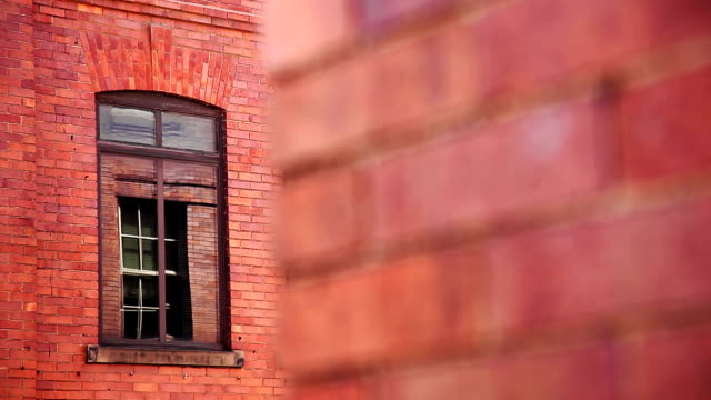 Red brick wall facade architecture background video