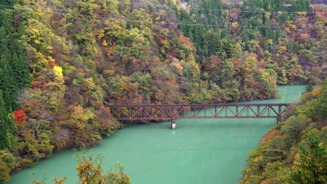 Red Bridge viewpoint with Red Leave Landscape, Mishima , Fukushima Japan video