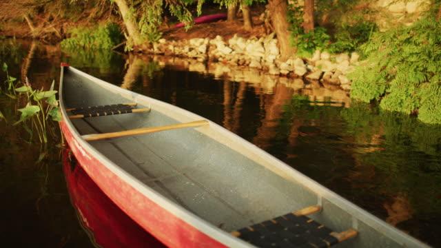 rotes kanu schwimmen in der nähe des ufers auf einem see in cottage land. muskoka lebensstil, gesunde aktivität. - landhaus stock-videos und b-roll-filmmaterial