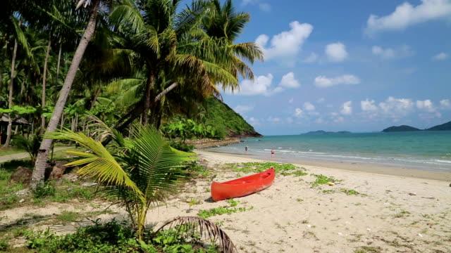 vídeos y material grabado en eventos de stock de rojo canoa en la playa tropical - río yangtsé