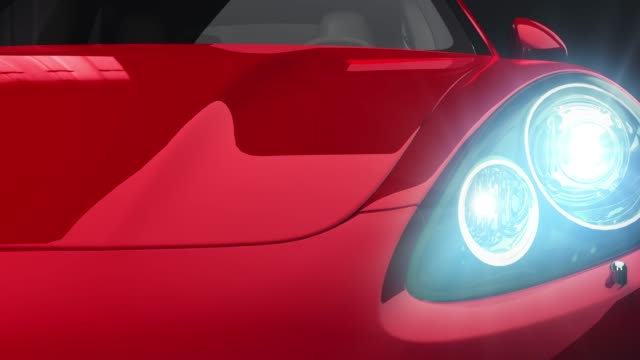 Red car front view 3d render on black background Red car front view 3d render on black background sports car stock videos & royalty-free footage