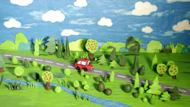 red car riding, river, trees, duck, clay, plasticine, animation, stop motion
