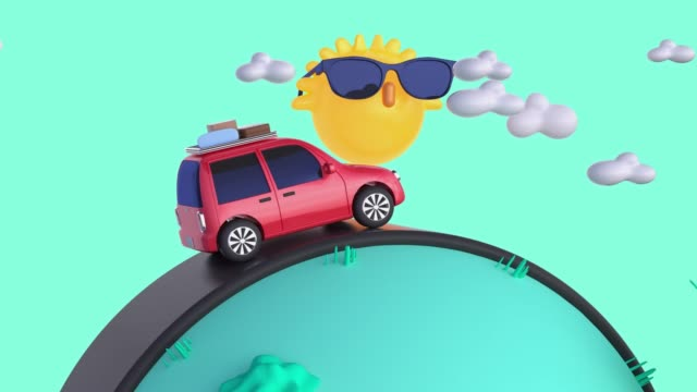 red car travel/driving transportation nature landscape cartoon style 3d rendering motion vacation summer concept red car travel/driving transportation nature landscape cartoon style 3d rendering motion vacation summer concept cartoon stock videos & royalty-free footage