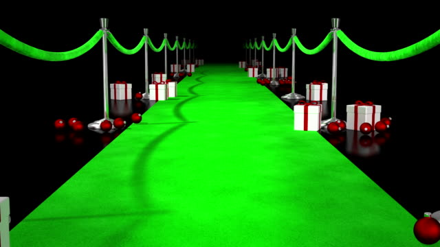 Red carpet decorated for Christmas video