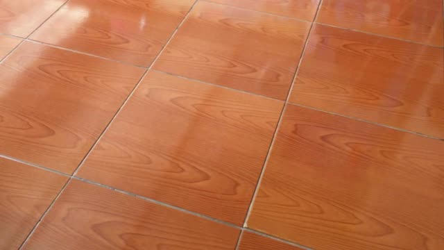 Red ceramic flooring close