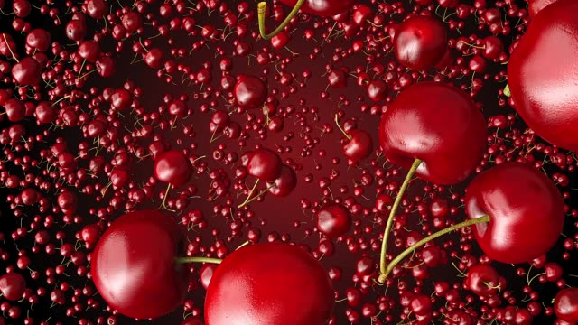 red cherries flying towards the camera on red background red cherries flying towards the camera on red background cherry stock videos & royalty-free footage