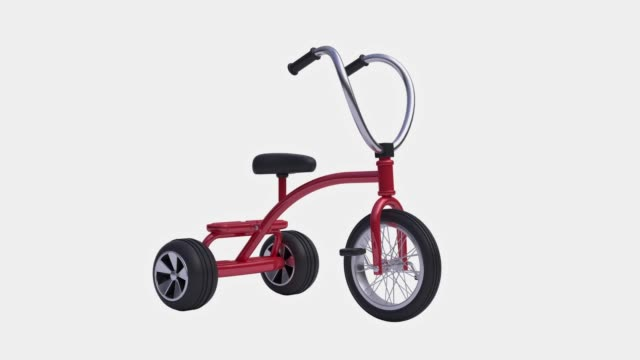 red child bicycle/tricycle white background alpha clipping path 3d rendering motion