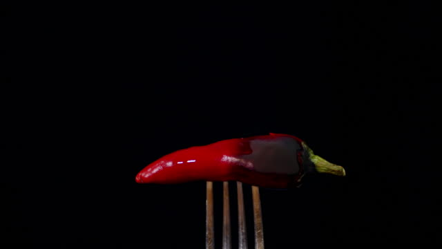 Red chili pepper flames on a fork.