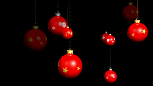 Red Christmas ornaments background.  Loopable with alpha channel. video