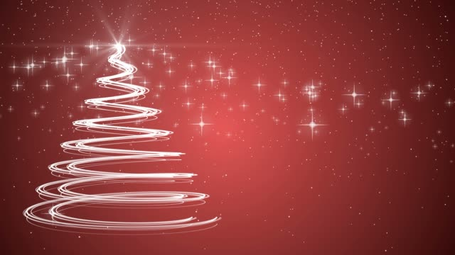 Red Christmas tree xmas holiday celebration winter snow animation background video