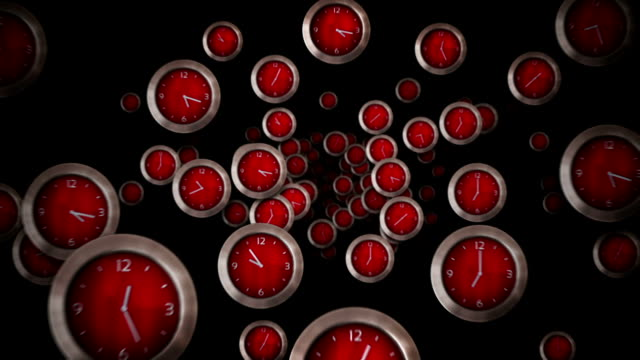 Red clocks flying. Loopable. video