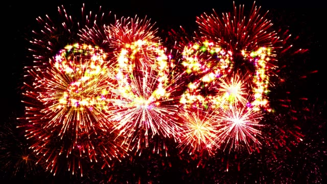 Red Color Fireworks Display countdown 2021 4K. video