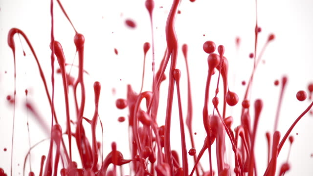 SLO MO Red color lifted into air creating beautiful sculptures video