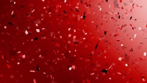 vídeos y material grabado en eventos de stock de confeti rojo y cintas de celebración - rojo