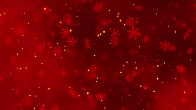red confetti, snowflakes and bokeh lights on the red christmas background - snowflake background stock videos & royalty-free footage