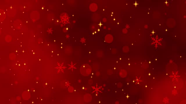 Video Red confetti, snowflakes and bokeh lights on the red Christmas background