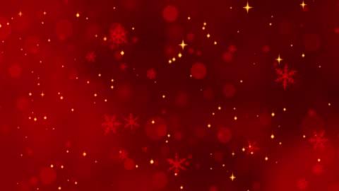 kırmızı konfeti, kar taneleri ve bokeh ışıkları kırmızı noel arka plan üzerinde - background stok videoları ve detay görüntü çekimi