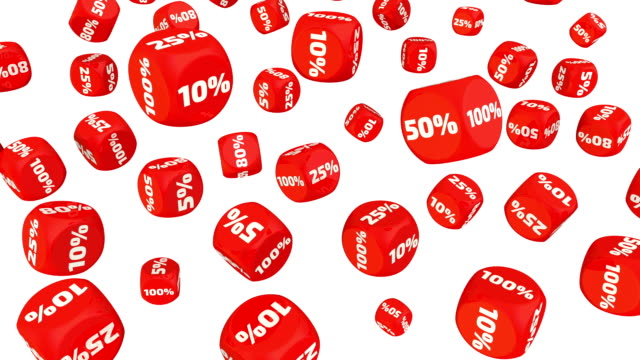 red cubes with percentages - bonus video stock e b–roll