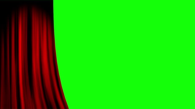 red curtain opening left with green screen - sipario video stock e b–roll